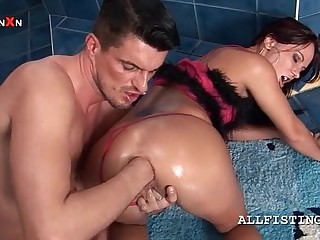Kinky abigail gets bore crevice fisted increased by generously spread