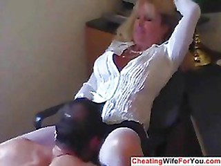 Mature hot secretary swallow cum