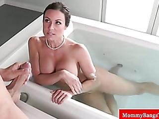 Busty milfs handjob in the bath