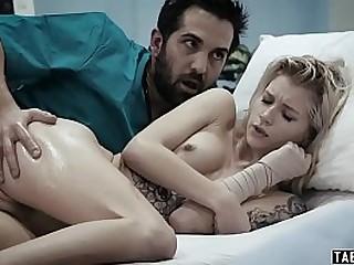 Hospitalized teenie fucked hard by her caretaker